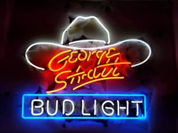 "bud light beer neon sign Australia - New 17""x14"" George Strait Bud-Light Neon Sign (Multiple Sizes Available) Man Cave Signs Sports Bar Pub Beer Neon Lights Lamp Glass Neon Ligh"