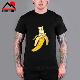 da7be6dfbd10f1 Sexy Boys t shirt Japan Anime Bananya cosplay t-shirt Bananas Cat lurking  in bananas men Parody tshirt summer cotton Tees Tops