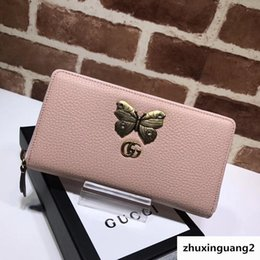 $enCountryForm.capitalKeyWord Australia - Top Quality 2019 Celebrity Design Letter Butterfly Insect Metal Buckle Zipper Wallet Long Purse Cowhide Leather 499363 Clutch