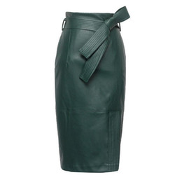 $enCountryForm.capitalKeyWord UK - 3xl 4xl Pu Leather Skirt Women Plus Size Autumn Winter Sexy High Waist Faux Leather Skirts Womens Belted Fashion Pencil Skirt J190628