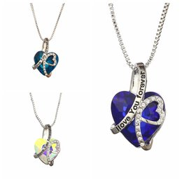 Necklaces Pendants Australia - Crystal Heart Shape Necklace Women Pendant I Love You Forever Clavicular Chain Fashion Lady Jewelry Party Gift TTA945