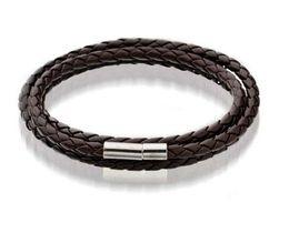 Men titaniuM Magnetic bracelet online shopping - Mens Leather Bangle Bracelets Black Brown Mesh Magnetic Stainless Steel Clasp Double Wrap Wristband Beautiful Titanium Bracelet for Men