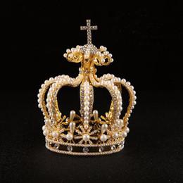 Big Pearl Tiaras Australia - Elegant Big Crown Crystal With Pearl Tiaras Crown Bride Womens Head Band Vintage Baroque Royal Hairband Wedding Hair Accessories C18122501