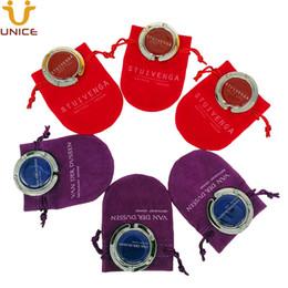 VelVet crystal pouches online shopping - MOQ Custom LOGO Foldable Bag Hanger With Printed LOGO Gift Velvet Pouch Table Purse Hanger Handbag Holder Bag Table Hook