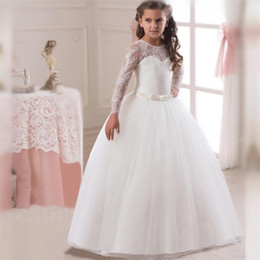 ball pregnant Australia - Lovely Long Sleeved Kids Wedding Dresses For Little Girl Long Ball Gowns Girls Children Communion Pregnant Dress For Teenagers 3-14 Yrs