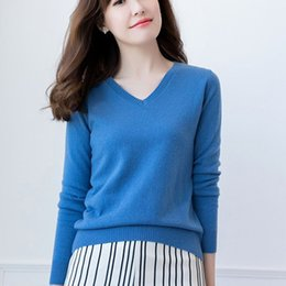 7d7d1659896 2019 New Spring Women Pullover 100% Cashmere Knitting Sweaters Hot Sale  Vneck Female Sweater 11Colors Standard Clothes Girl Tops