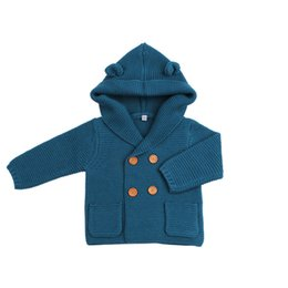 Spring ear online shopping - Solid Ear Decor Double breasted Hooded Knit Jacket for Baby Boy Spring and Autumn Casual Boy Clothes Coat