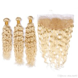 blonde wet wavy brazilian hair NZ - Wet and Wavy Brazilian Blonde Virgin Human Hair Weaves with Frontals Water Wave #613 Blonde 13x4 Lace Frontal Closure with Bundles Deals