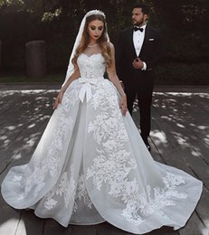 Formal Wedding Gowns Australia - 2019 Arabic Ball Gown Wedding Dresses Sweetheart Plus Size Lace Appliques Sequins Open Back Sweep Train Bow Plus Size Formal Bridal Gowns