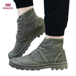 $enCountryForm.capitalKeyWord NZ - Men Canvas Shoes Fashion High Top Ankle Boots Comfortable Thick Bottom Casual Canvas Shoes High Quality Lace Up Boots For Men MX190819