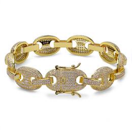 7d1c5d321a6213 12mm Mens Charm Link Bracelet Personalized Bling Iced Out Cubic Zirconia  Hip Hop Gold Silver Rose Gold Color Bracelets wholesale