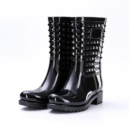 female big boots Australia - Women Boots Spring Summer Rainboots Mid-Calf Woman Shoes Big Size Non-slip Waterproof Female Footwear Rivet PVC Rain Boots New