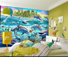 Kids Wallpaper Stickers Australia - custom size 3d photo wallpaper kids room mural Seabed Paradise Dolphin Fish Oil Painting sofa TV backdrop wallpaper non-woven sticker