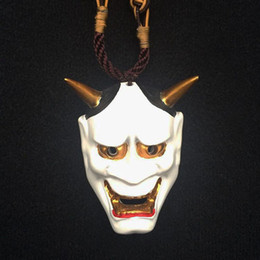 $enCountryForm.capitalKeyWord Australia - Resin Horror Hannya Mask Pendant Necklace Women Men Halloween Cosplay Pendant Creative Choker Necklace Costume Accessories