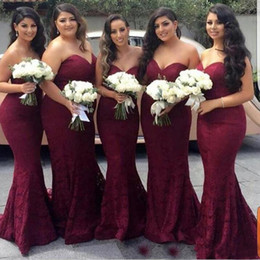 wine bridesmaid dresses long Australia - 2019 long bridesmaid dresses wine red sweetheart lace bridesmaid dress sexy mermaid dress lace evening dresses wedding party dress