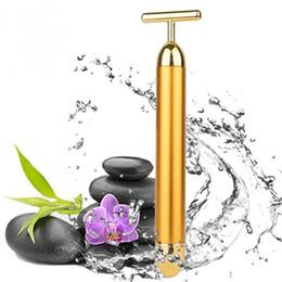 Face liFt gold online shopping - Face Massager Slimming Patch Gold Vibration Facial Beauty Bar Roller Massager Stick Lift Skin Tightening Wrinkle Stick Bar