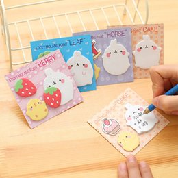 Stationery Australia - 4Pcs lot Cute Kawaii Animal Korean Rabbit Stationery Memo Pad Scrapbooking Sticky Notes Book Paper Sticker Bookmark