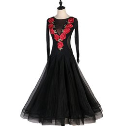 $enCountryForm.capitalKeyWord Australia - Latino ballroom competition dress Black Long Waltz Dance Dress Adults Professional Western Classical Dance Long
