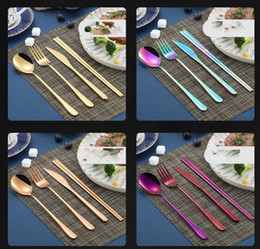 fork knife chopsticks NZ - Korean flatware sets stainless steel long handle knife fork spoon chopsticks set colorful flatware for wedding kitchen accessories