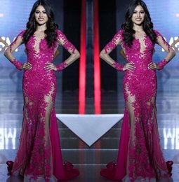 Discount miss world sexy - Long Sleeves Lace Appliques Mermaid Fuchsia Custom See Through Sweep Train Formal Prom Dress Party Gowns 2019 New Miss W