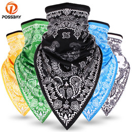 white winter face mask Australia - POSSBAY Windproof Motorcycle Mask Face Winter Printing Balaclavas Ski Neck Triangle Scarf Outdoor Breathable Face Shield