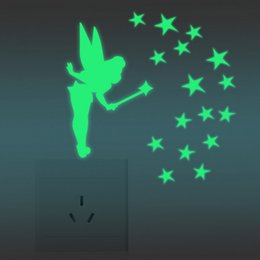 planes wing Australia - NEW Glow in Dark Stars Fairy Glitter Wing Acrylic Decal Fluorescent Luminous Switch Wall Stickers Wholesale