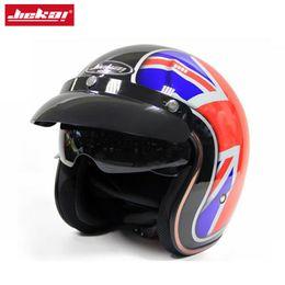 Jet Half Face Helmets Australia - Jiekai Motorcycle Helmet 3 4 Open Face Vintage Casco Moto Jet Scooter Bike Helmet Retro DOT approved Casque Motociclismo,K-510