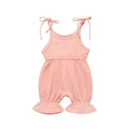 Wholesale Baby romper Hot sale Summer children s boutique clothing jumpsuit for girls cute sling one piece jumpsuit solid baby clothing colors