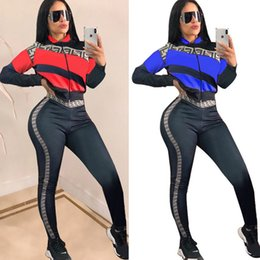 Motorcycle Jacket Sport NZ - Women's Striped Jacket+ Pants Tracksuit 2019 Letter Print Zipper Crop Coat Outfits Club Wear Sports Suit Joggers Set S-2XL new B21505