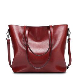 $enCountryForm.capitalKeyWord Australia - Genuine Leather Oil Wax Women's Handbags Luxury Lady Hand Bags With Purse Pocket Female Messenger Bag Big  small Two-piece Set Tote