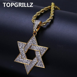 $enCountryForm.capitalKeyWord Australia - Topgrillz Hip Hop Men Gold Color Plated Necklace Micro Pave Iced Out Cz Stone Star Of David Pendant Necklaces With Rope Chain MX190730