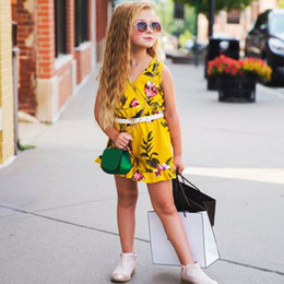 V Cute Jumpsuits Australia - Baby Girl Romper Cute Fashion Baby Kids Girls Floral V-Neck Sleeveless Flower Romper Jumpsuit Outfits Cloth Set Children Clothes