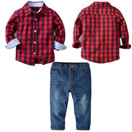 Plaid Kids Jeans Australia - Fashion New boys red plaid cotton shirt+ blue jeans clothing sets baby boy long sleeve shirt kids sets