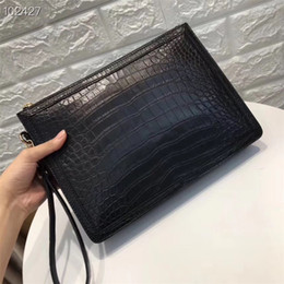 $enCountryForm.capitalKeyWord Australia - Authentic Crocodile Belly Skin Businessmen Wristlets Clutch Card Purse Genuine Real Alligator Leather Male Large Laptop Case Bag