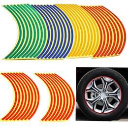"red wheels rims Canada - Cheap 16 Strips Bike Car Motorcycle Wheel Tire Reflective Rim Stickers And Decals Decoration Stickers 18"" 4 Color Car Styling New"