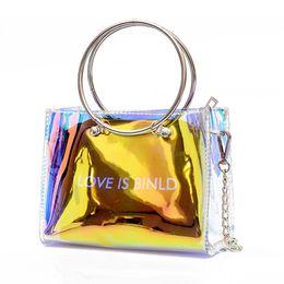 Gold Handles Australia - NEW-Fashion Women Bag Set Shoulder Bag+Clutch For Teenage Girls Fashion Laser-Jelly Crossbody Bag Circle Handle Tote Gold