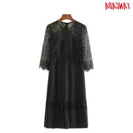 Black Evening Dresses For Ladies Australia - Even Dress Women Black Lace Dress Pleated 2019 Autumn Sexy Ladies Party Midi Dresses Long Sleeve Elegant Dress For Womens