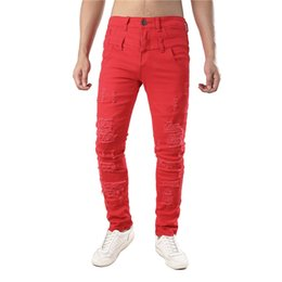 $enCountryForm.capitalKeyWord NZ - KIMSERE Men Destroyed Jeans Pants With Holes Hi Street Ripped Denim Trousers Double Waist Fashion Streetwear Multi Colors