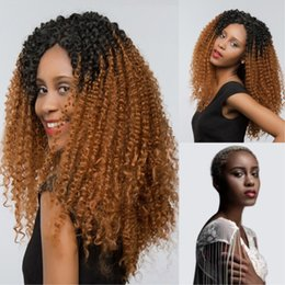 lace front synthetic wigs price Australia - Wholesale Cheap Price 26 Inch Synthetic Lace Front Wig for Black Women Afro Marley Braids Kanekalon Ombre Dark Root Caramel Highlights Wigs