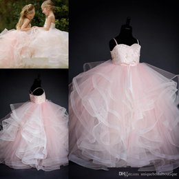 $enCountryForm.capitalKeyWord NZ - Blush Flower Girls Dresses 2019 Ruffles Layered Tutu Skirt Ballgown Kids Wedding Gowns Lace Up Back Real Pictures First Communion Dress