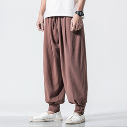 $enCountryForm.capitalKeyWord Australia - 5XL Autumn Men Sweatpants Linen Harem Loose Wide Leg Bloomer Baggy Yoga Running Jogger Casual Workoout Track Pant Sportswear