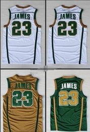 lebron shorts xxl NZ - NCAA IRISH HIGH SCHOOL Green White 23 Lebron James Stitched Jerseys High Quality Embroidery Sportwear Shirt For Men S-XXL