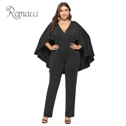 Jumpsuit Long Cape Australia - Fashion Women Plus Size Jumpsuit Plunge V Neck Batwing Sleeve Cape Back Long Pants Playsuit Rompers Black Office Ladies Outfits #401046