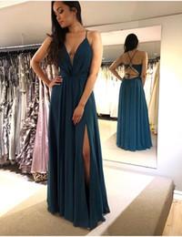 Discount teal green plus size dress - Sexy Sleeveless A-Line Chiffon V-Neck Long Teal Evening Dress Plus Robe De Soiree Floor Length Prom Gowns Vestido De Fes