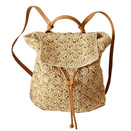 vintage style trunk UK - ISHINE Woven Backpack Women Cotton Blend Mori Girl Style Fashionable Vintage Beach Vacation Straw Bag Casual Bag Summer Backpack #318097