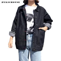 $enCountryForm.capitalKeyWord Australia - ZURICHOUSE Hot Sale Black Denim Jacket Women Spring 2019 New Casual Loose All-match Harajuku Style Women's Jeans Jackets Coat