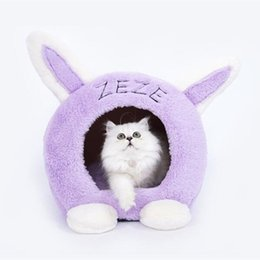cute rabbit beds UK - Rabbit Shape Cute Pet Cat Kitty Bed House Puppy Mini Pet Dog Bed Mat Cat Sleeping Bag Tunnel Cave Portable Kennel