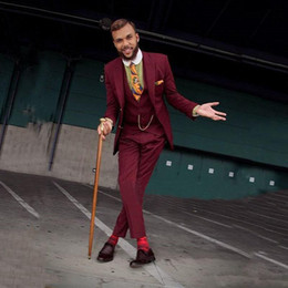 $enCountryForm.capitalKeyWord NZ - Classic Burgundy Three Pieces Suit for Wedding Two Buttons Slim Fit Prom Tuxedos Peaked Lapel Groomsmen Wears 2019