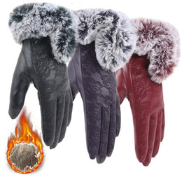 leather gloves for females NZ - Female Glove Keep Warm Gloves Winter Women Velvet Mitten Lace Gloves Cycling Mittens For Phone Leather Glove Guantes Luva #L10
