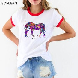 Wholesale Little Girl Tees Shirts Australia - New arrival 2019 Funny t shirt watercolor Little boy and horse print tee shirt femme cute casual girl white t-shirt female top